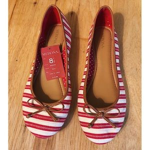 New Merona red and white flats - NWT - Size 8.5